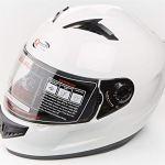 Qtech Casque Visage Complet Casco Helm – Moto/Scooter -Juridique de la Route – ECE2205 – Blanc – L (59-60 cm)
