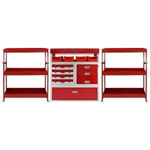 Rayonnage Monster Flame à étagères en métal et tiroirs en acier rouge pour véhicule utilitaire, Rayons et tiroirs en acier
