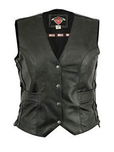 Texpeed – Gilet de moto en cuir – pour femme – lacets sur les côtés/poches – EU44 – Tour de poitrine 107 cm