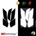 VFLUO Rpha70™, Kit 4 Stickers rétro réfléchissants Casque HJC Rpha70, compatibles Tous Casques Moto, 3M Technology™, Noir