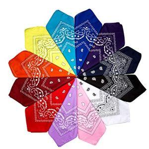 ZWOOS 12 PCS Bandana Unisexe, Multicolore Coton scarf, Bandeau de Cheveux, Mouchoir, 12 couleurs au choix(55 * 55cm)