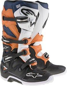 Alpinestars White Tech Seven Enduro MX Bottes, Hommes, 2012114-1427-14, Noir, orange, bleu, blanc., Taille 42