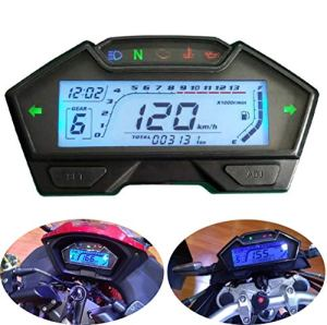 CHUDAN Moto 2/4 Cylindres Universelle Jauge De Carburant Tachymètre, Indicateur De Vitesse D'instrument Numérique LCD Compteur De Vitesse DIY 199 Km/H, 3000 TR/Min