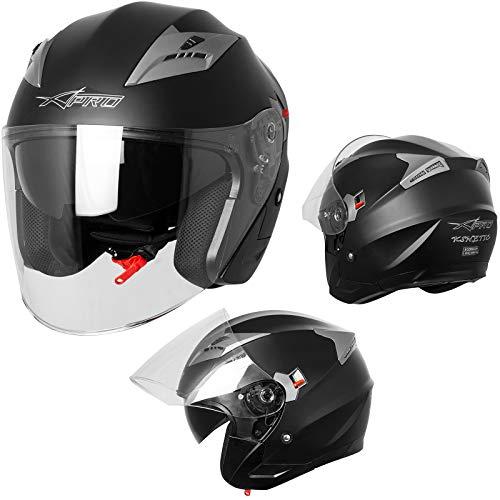 Demi Jet Casque Visière Pare Soleil ECE 22-05 Approuvé Moto Scooter A-Pro Kinetic Noir Mat L