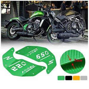 FATExpress Moto CNC Décoration En Aluminium Plaque De Couverture Latérale Du Moteur pour Kawasaki Vulcan S ABS VN EN 650 EN650 2015 2016 2017 2018 2019 Accessoires De Moto Pièces 15-19 (Argent)