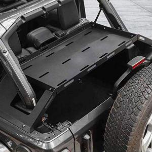 Interior Rear Cargo Basket, Multi-Purpose Rear Door Tailgate Table, Rear Storage Rack Tailgate Table Storage Cargo Luggage Holder Rack Shelf Black for J-eep Wrangler JL 2/4Doors【Aluminum】