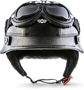 MOTO Helmets D33 Casque Demi Jet avec lunettes et visière