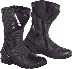 Profirst Bottes de moto imperméables pour hommes et femmes avec protection en caoutchouc antidérapant Noir