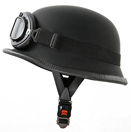 Stark – WH1 Casque Moto Style Wehrmacht Avec Lunettes de Soleil Aviateur – L 59-60Cm