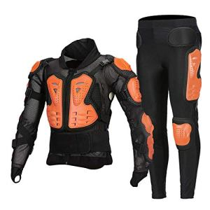 TZTED Motard Sport Veste Protection Dorsale Armure Moto Cyclisme Patinage Snowboarding Plastron avec Protection de la Poitrine et Dos,Orange,XL