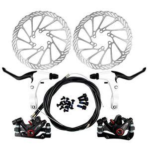 Yorbay Kit de freins à disque pour vélo Disques de 160 mm pour frein avant et frein arrière Avec plaquettes de frein BB5 et câbles, ., Noir