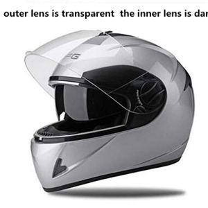 ZWQ Helmets Snowmobile Helmet Hommes Femmes Full Face Dual Lens avec Foulard retiré Blanc Couleur Moto, DFG Brands, L