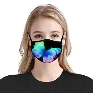 5 Pc Unisexe Coton Papillon Belle Anti-PoussièRe RéUtilisable Lavable ExtéRieur Visage ProtéGer Bandana Pour Hommes Femmes Adulte