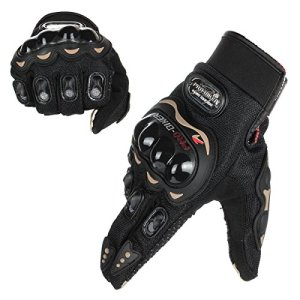 GES Hommes En Plein Air Moto Imperméable Gants Moto Complet Doigt Écran Tactile Racing Motocross Gants (L, Noir)