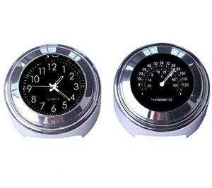 Maso Lot avec horloge et thermomètre Pour guidon de moto 7/8″ (22 mm) Universel Étanche Noir