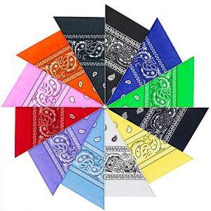 PITAYA foulards bandanas de modèle Paisley pour cou/tête multicolore multiples pour femme et homme