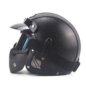 Casque de protection Casque de moto, casque adulte, casque personnalité rétro, casque Harley, casque de moto (ABS + cuir) (Color : #2)