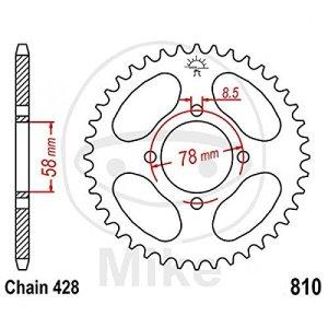 Corona 38dents Pas 428noire diam.Int. 058–Cercle trous 078
