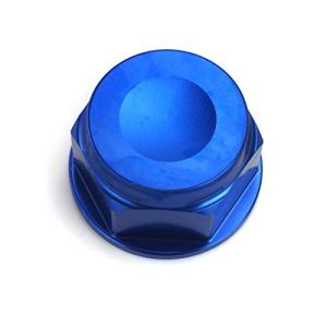 Écrou de fourche tête de direction écrou aluminium CNC fraisé M22 bleu