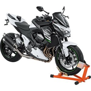 Hi-Q Tools Béquille de montage Béquille de moto Béquille avant Basculeur, stationnement facile du véhicule, idéal pour le transport, béquille fixe, orange, réglable pour presque toutes les tailles de roues/pneus