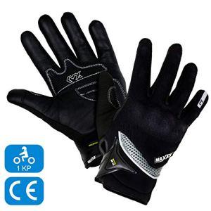 MAXAX Gants Moto Motocross Scooter Homologués CE Gant Tactile Respirable Homologué 1KP Norme Européenne CE – En Cuir Et Textile – Confortable et de Qualité – Unisexe et Mi-saison – Taille S