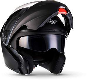 MOTO F19 Gloss Black · Scooter Cruiser Helmet Moto Integral Casque Modular Urban Mofa Flip-Up · ECE certifiés · deux visières inclus · y compris le sac de casque · Noir · XS (53-54cm)