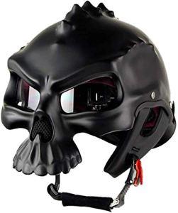 QHZ Adulte Harley Motorcycle Skull Casque Demi Dot certifié Hommes et Femmes Sécurité Noir Pull Wind Rue Riding moitié Voyage Casque avec Pare-Soleil,XXL