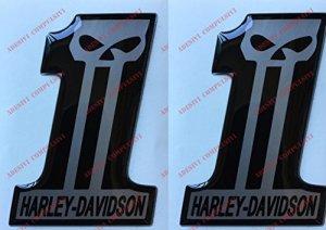 Emblème Logo Decal Harley Davidson, Number One, Skull, couple Stickers, Résine Effet 3d. Pour réservoir ou casque