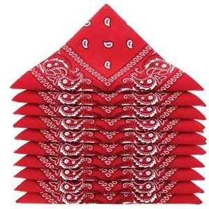 Lot de 5 bandanas 100% Coton paisley foulard fichu 12 couleurs au choix (Lot de 5 identiques, Rouge)