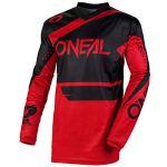 O'Neal Element Racewear Jersey Moto Cross MTB MX Mountain Bike Trikot Langarm Shirt Leicht Offroad, E001, Farbe Schwarz Rot, Größe XL