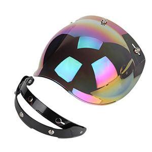 Qiilu Lentille de casque de moto, moto rétro 3-snap pare-soleil bouclier coupe-vent casque lentille colorée