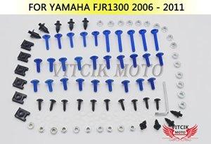 VITCIK Kits de boulons pour moto Yamaha FJR 1300 2006 2007 2008 2009 2010 2011 FJR 1300 06 – 11 attaches aluminium CNC (Bleu & Argent)