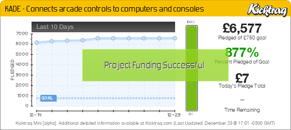 KADE - Connects arcade controls to computers and consoles -- Kicktraq Mini