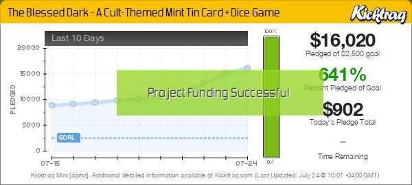 The Blessed Dark - A Cult-Themed Mint Tin Card + Dice Game -- Kicktraq Mini