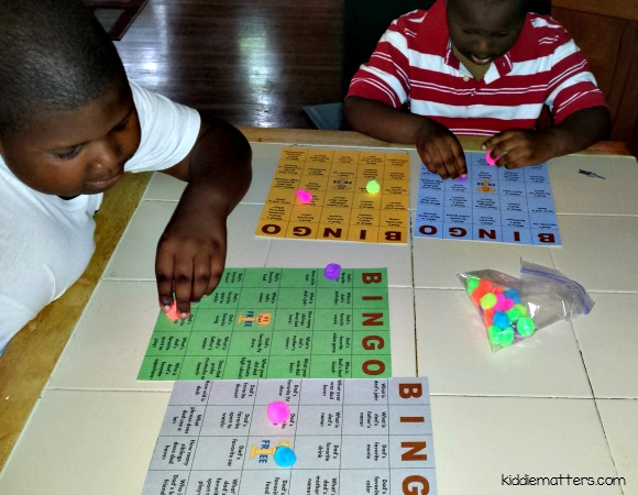 playing bingo with students