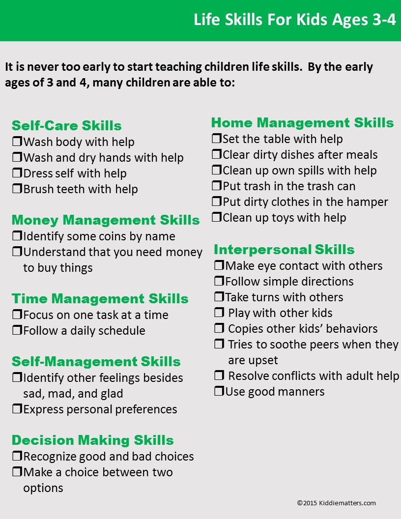 hight resolution of Life Skills Checklists For Kids And Teens - Kiddie Matters