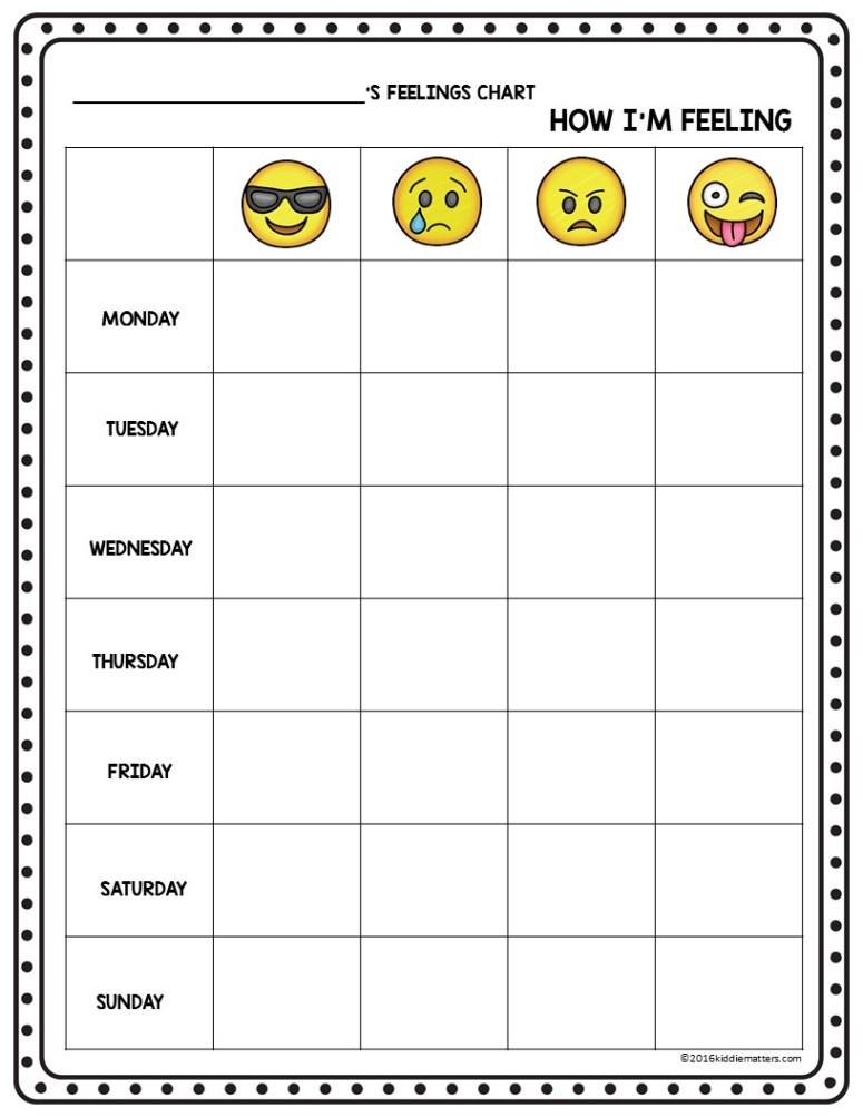 Emoji Feelings Check Up Sheet