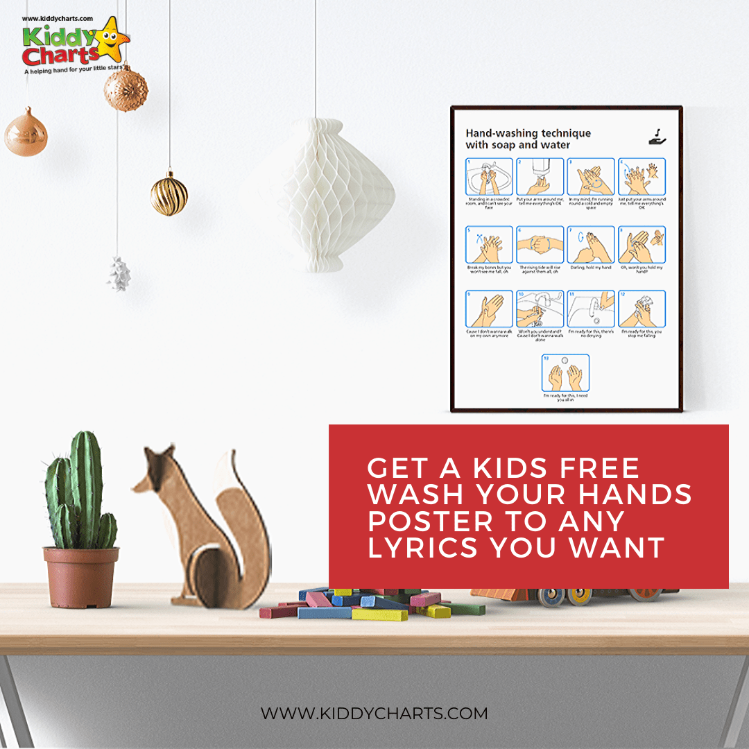 Get A Kids Free Wash Your Hands Poster To Any Lyrics