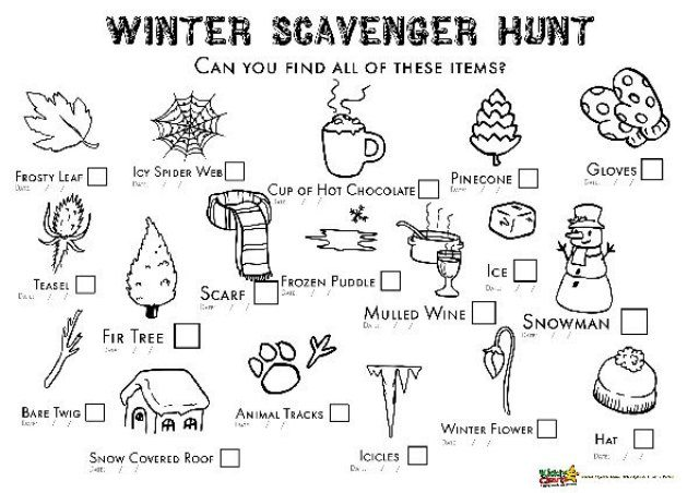 Winter scavenger hunt: And you can colour it in too!
