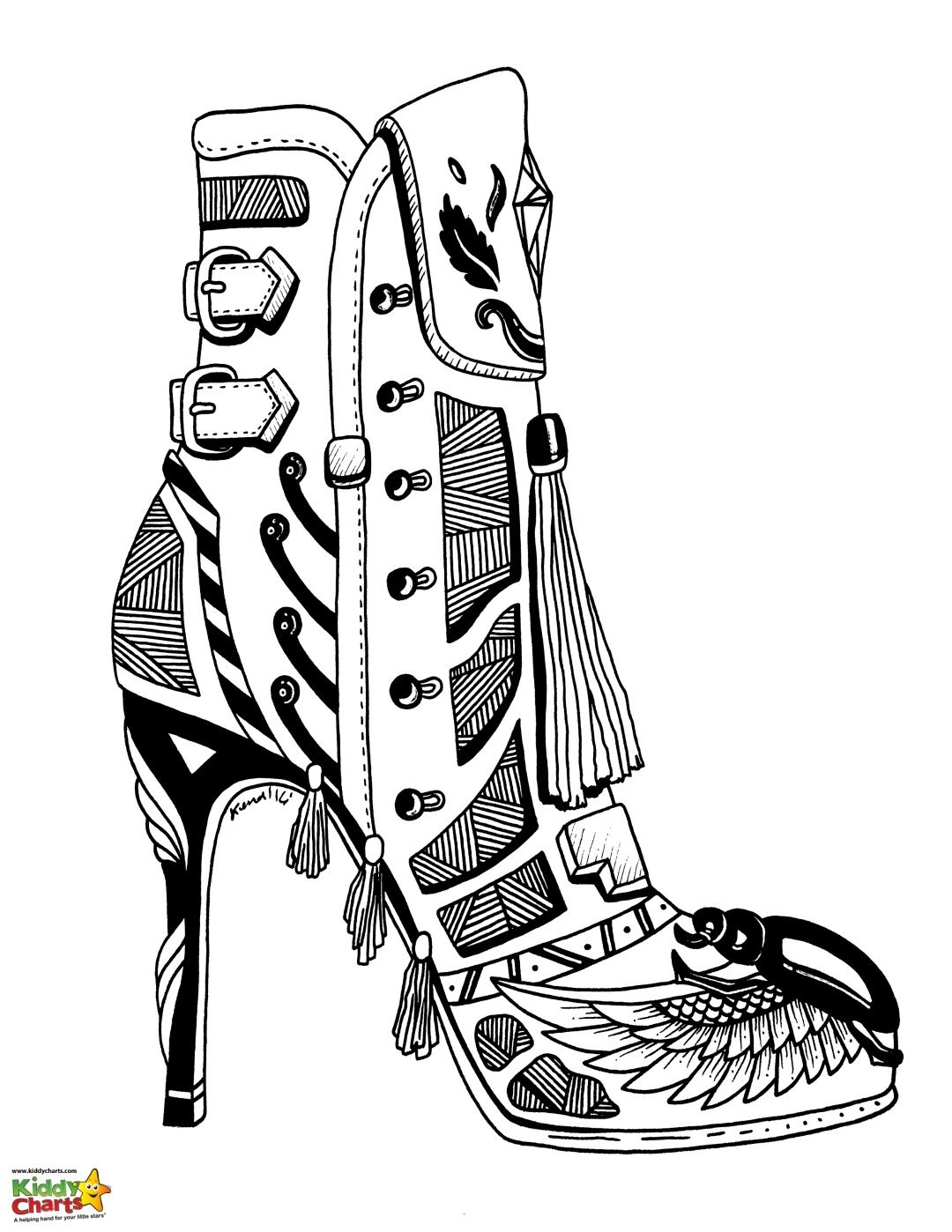 High Heel Shoe Coloring Pages For Adults And Kids