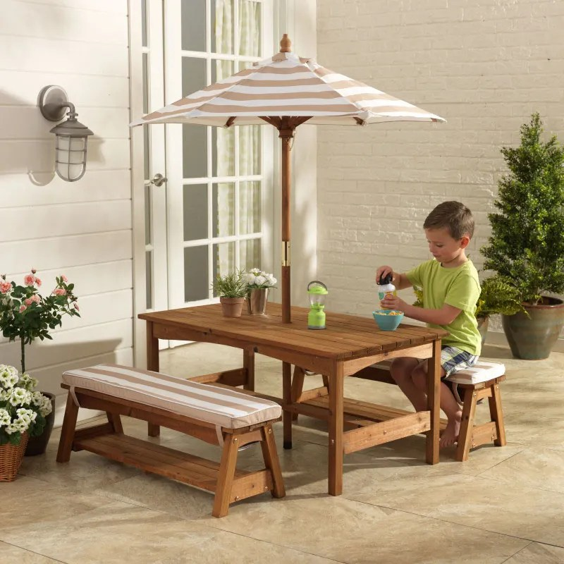 outdoor table and chairs wood chair rental kids furniture kidkraft bench set with cushions umbrella oatmeal white stripes