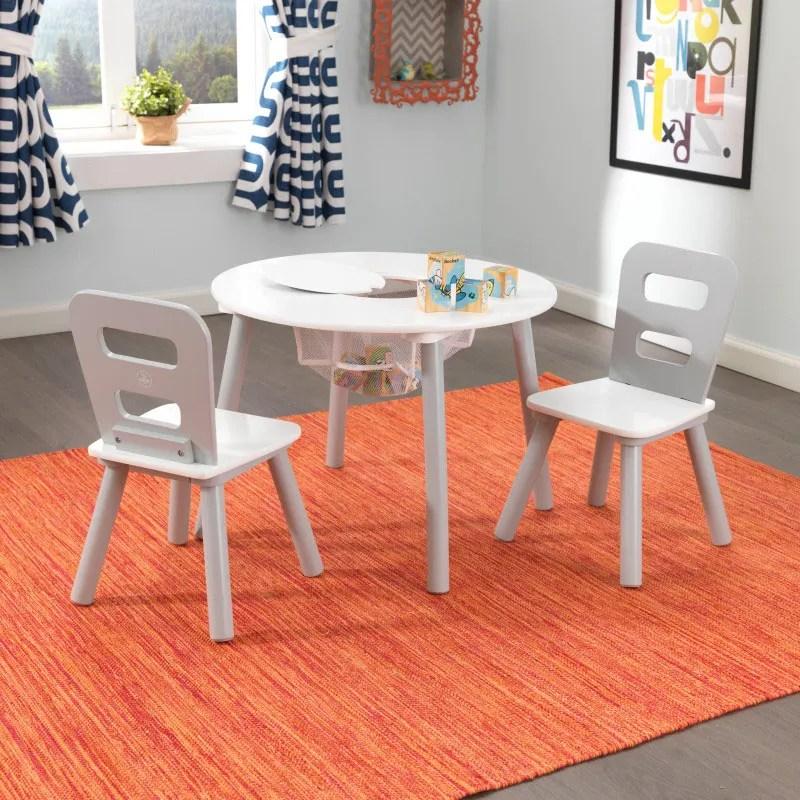 kidkraft white table and chairs bassett furniture kids sets round storage 2 chair set gray