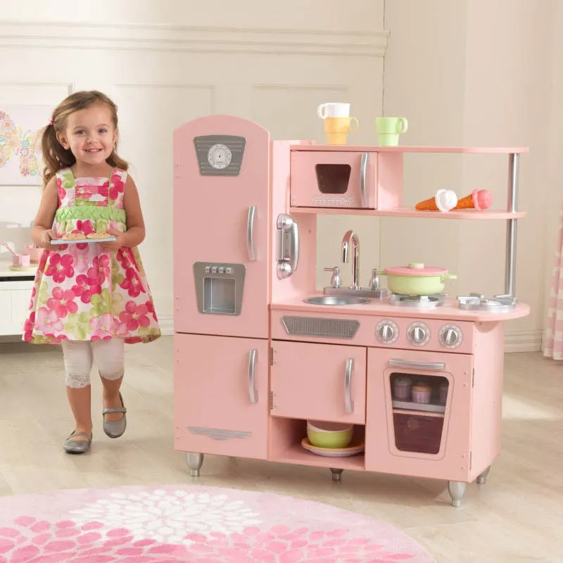 kid kitchens blanco kitchen sinks stainless steel play kitchenette kids sets kidkraft vintage pink