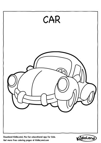 Download Free Car Coloring Page and educational activity