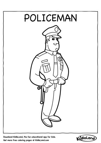 Download Free Policeman Coloring Page and educational