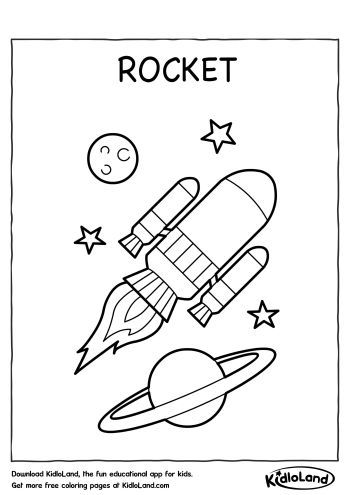 Download Free Rocket Coloring Page and educational