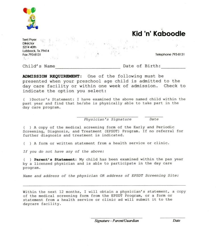 Kid'n'Kaboodle Day Care Forms Handouts