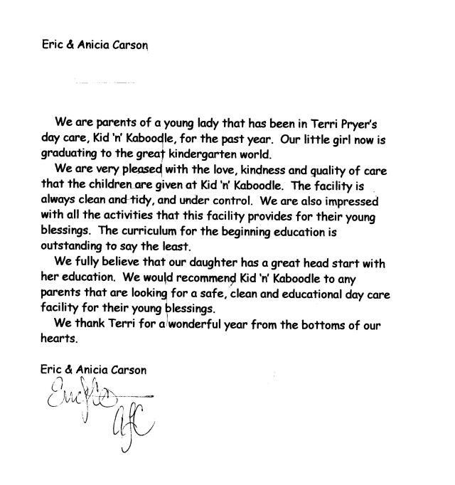 ... Sample Child Custody Reference Letter. Essay Day Care