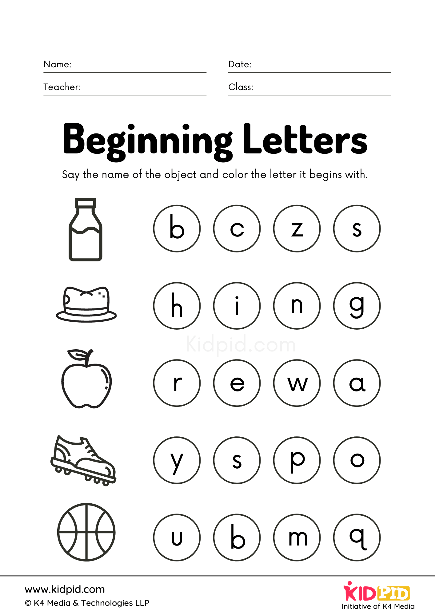 Beginning Letters Foundational Worksheet