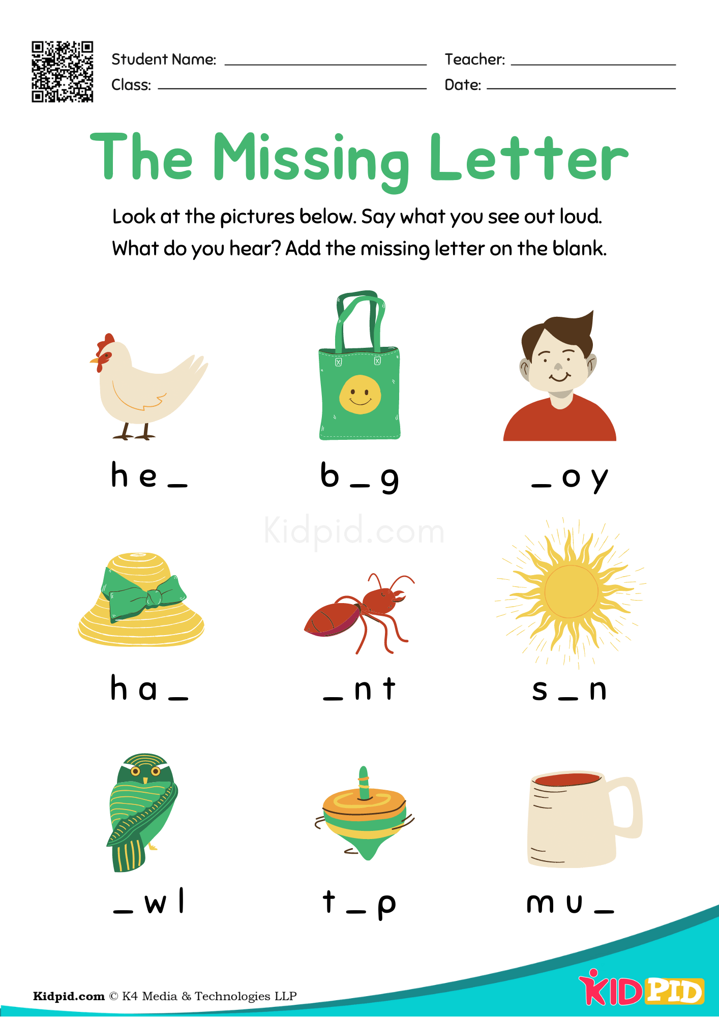 Colorful English Spelling Missing Letter Activity
